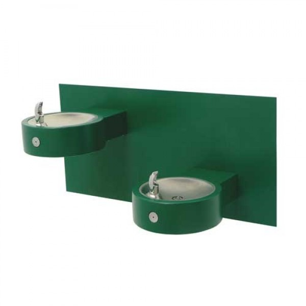 Bi-Level Round Stainless Steel Wall Mounted Drinking Fountain - Wall Mount Water Fountains