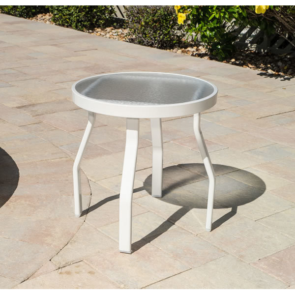 Acrylic Round Side Table - Recantular Tubing - Side Tables