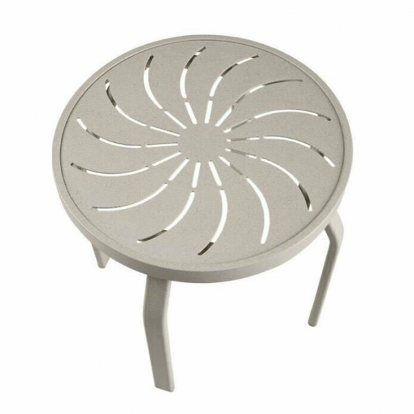Round Aluminum Side Table - Rectangular Legs