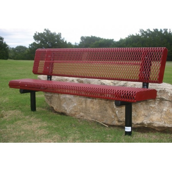 Rolled Edge Bench With Back - Expaned Metal - Benches