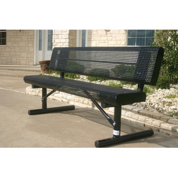 Rolled Edge Bench With Back - Punched Steel - Park Bench
