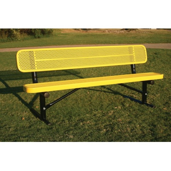 Traditional Park Bench With Back -Punched Steel - Benches