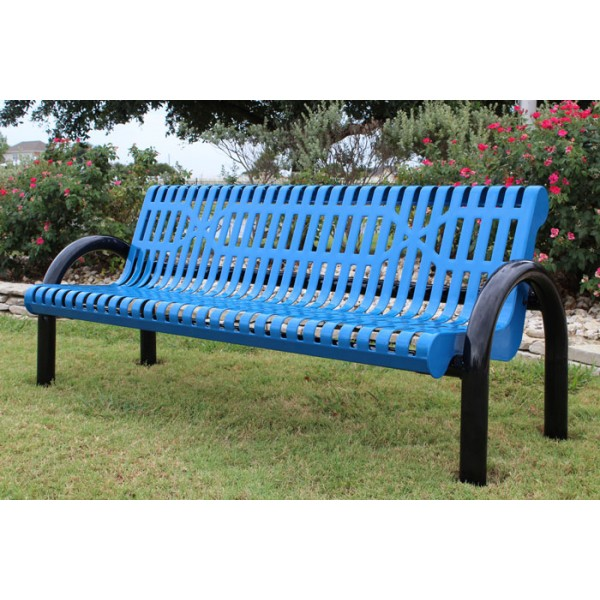 Pipe Bench with Back -  Slatted Steel